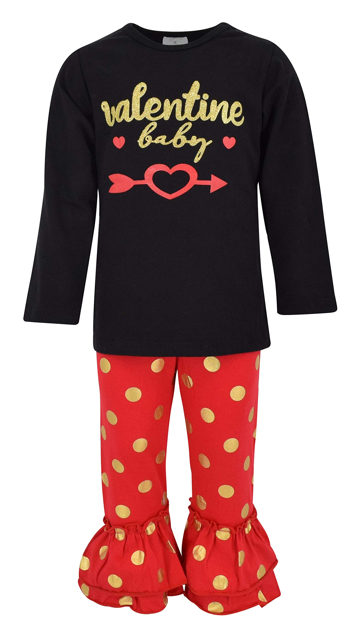 Unique Baby Girls Polka Dot Valentine Baby 2 Piece Outfit