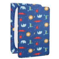 UOMNY Playard Sheets,Pack and Play Sheet Fitted Playard Mattress Sheet,100% Natural Cotton Mini Portable Crib Sheets for Boys and Girls 1 Pack Blue Lion Pack n Play Playard Sheet