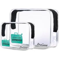 ProCase TSA Approved Clear Travel Toiletry Bag, Quart Size Zipper Organizer Airport Airline Compliant Bag Carry-On Luggage for Liquids Creams Gels 3-1-1 Kit (Set of 2, Large + Small)