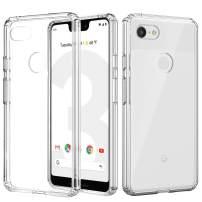 MoKo Google Pixel 3 XL Case, Anti-Scratch Slim Hard PC Backplate Hybrid + TPU Bumper Shock Absorption Anti-Yellow Cellphone Shell Fit with Google Pixel 3XL - Crystal Clear