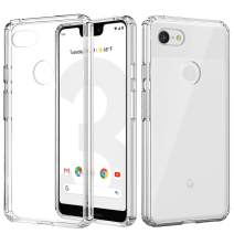 MoKo Google Pixel 3 XL Case, Anti-Scratch Slim Hard PC Backplate Hybrid + TPU Bumper Shock Absorption Anti-Yellow Cellphone Shell Fit with Google Pixel 3XL - Crystal Clear
