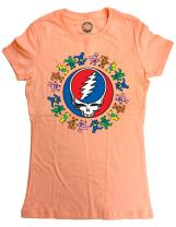 Ripple Junction Grateful Dead Juniors Dancing Bears Around SYF Light Weight 100% Cotton Crew T-Shirt