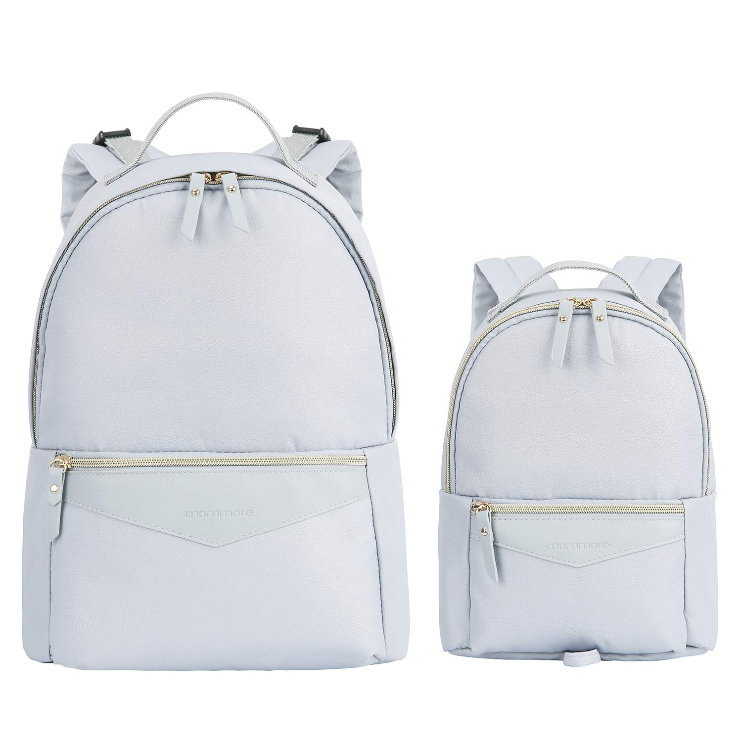 mommore Fashion Diaper Backpack Bag with Small Toddler Backpack for Mother-Daughter Matching Look, 2 Piece Set, Grey