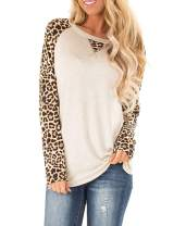 TOPUSH Women's V Neck Long Sleeve Waffle Knit Top Casual Off Shoulder Color Block Sweater