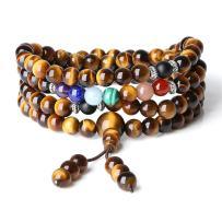 COAI 7 Chakra 108 Mala Beads Stone Wrap Bracelet Necklace