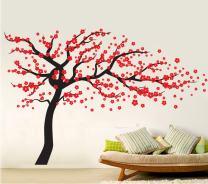 "Fymural Plum Blossom Tree Wall Sticker Vinyl Removable for Livingroom Kid Baby Nursery Home Mural Paper DIY Decals 70.9x47.2"",Black+Red"