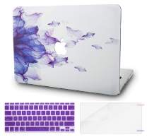 "KECC Laptop Case for MacBook Air 13"" w/Keyboard Cover Plastic Hard Shell + Screen Protector A1466/A1369 3 in 1 Bundle (Purple Flower)"
