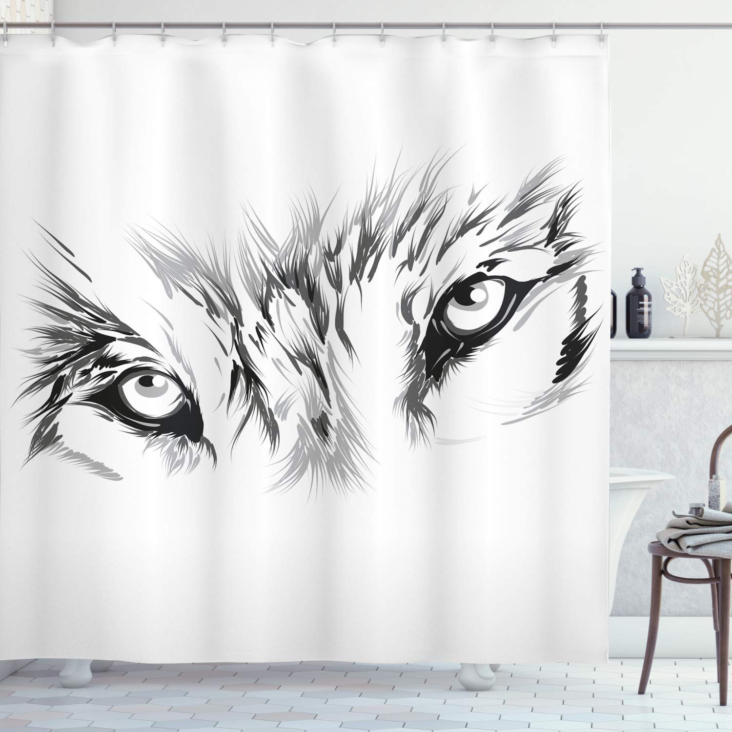 """Ambesonne Tattoo Shower Curtain, Winter Time Animal White Wolf with Its Eyes Looking Straight and Fierce Art, Cloth Fabric Bathroom Decor Set with Hooks, 70"""" Long, White and Black"""