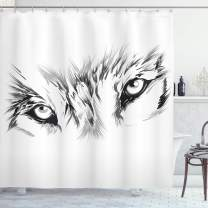 "Ambesonne Tattoo Shower Curtain, Winter Time Animal White Wolf with Its Eyes Looking Straight and Fierce Art, Cloth Fabric Bathroom Decor Set with Hooks, 70"" Long, White and Black"