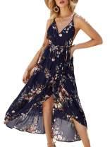 BerryGo Women's Boho Backless Floral Beach Dress Sexy Split Maxi Dress