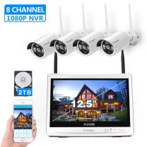 "[8CH,Expandable]All in one with 12.5"" Monitor Wireless Security Camera System, Cromorc Home Business CCTV Surveillance 8CH 1080P NVR, 4pcs 1.3MP 960P Outdoor Indoor Night Vision Camera, 2TB Hard Drive"