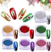 PrettyDiva Titanium Chrome Nails Powder - Metallic Nail Powder Mirror Effect Nails Pigment Set, 7 Colors 1g/Jar Synthetic Resin Powder Multi-chrome Color Manicure Pigment for Nail Art