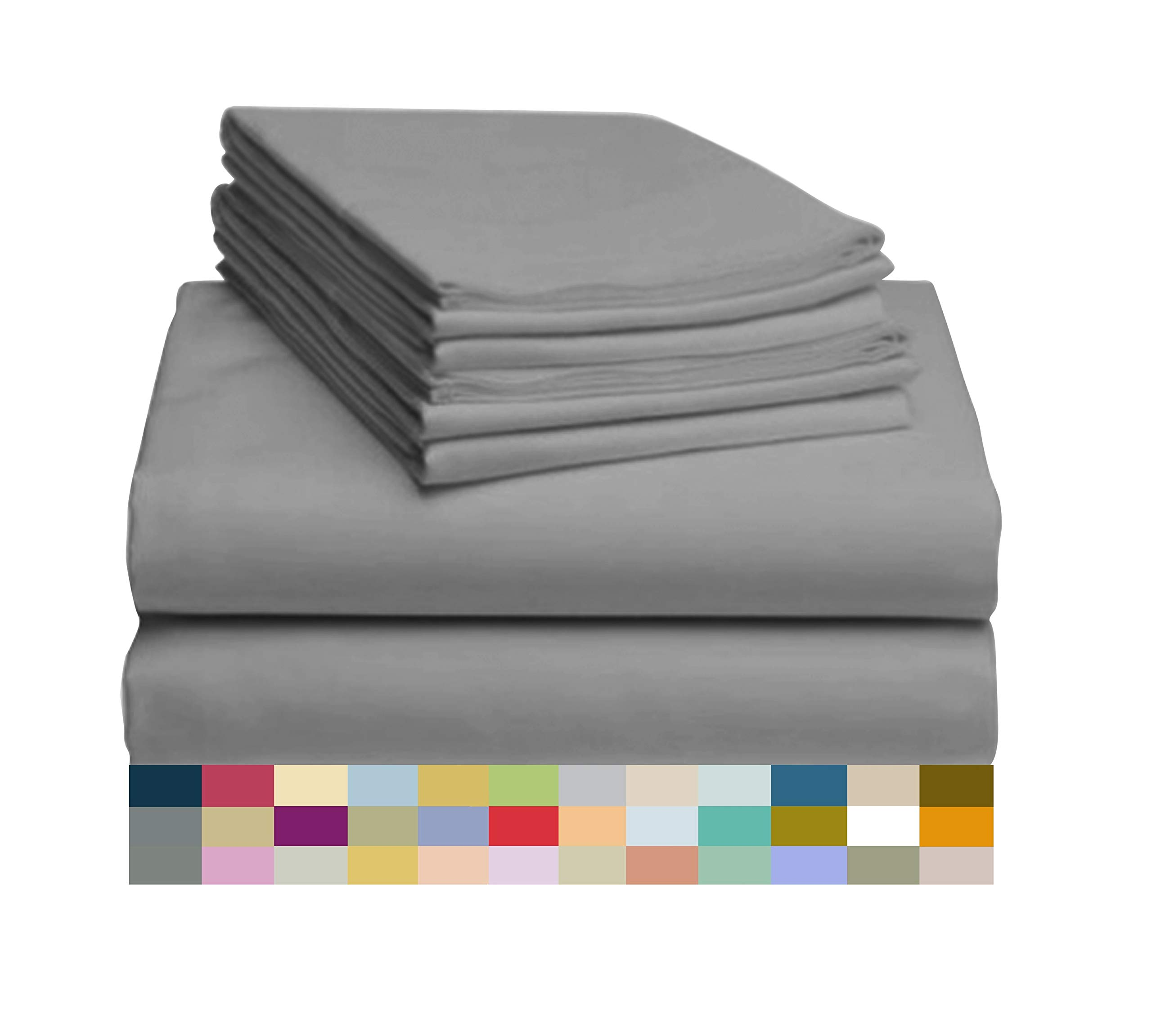 LuxClub 6 PC Bamboo Sheet Set w/ 18 inch Deep Pockets - Eco Friendly, Wrinkle Free, Hypoallergentic, Antibacterial, Fade Resistant, Silky, Stronger & Softer Than Cotton -Silver California King