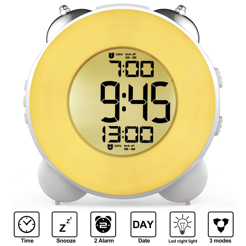 Banne Loud Alarm Clock Optional Alarm Dual Alarm Setting Snooze Function Night Light Bedside Battery Powered Clock (White)