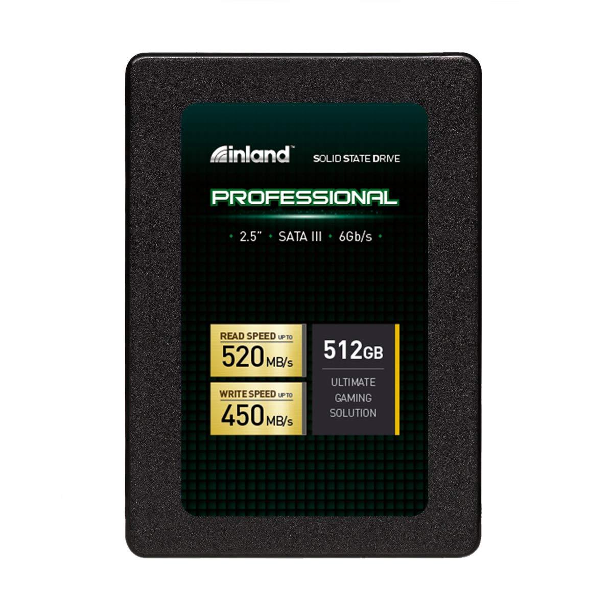 """Inland Professional 512GB SSD 3D TLC NAND SATA III 6Gb/s 2.5"""" 7mm Internal Solid State Drive (512GB)"""