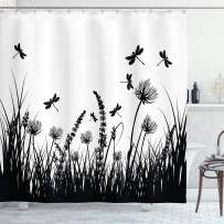 """Ambesonne Nature Shower Curtain, Grass Bush Meadow Silhouette with Dragonflies Flying Spring Garden Plants Display, Cloth Fabric Bathroom Decor Set with Hooks, 70"""" Long, Black White"""
