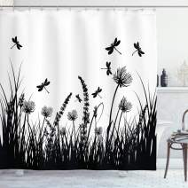 """Ambesonne Nature Shower Curtain, Grass Bush Meadow Silhouette with Dragonflies Flying Spring Garden Plants Display, Cloth Fabric Bathroom Decor Set with Hooks, 84"""" Long Extra, Black White"""
