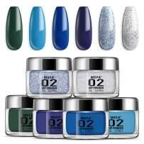 Dipping Nail Powder Colors Set - 6 Dip Powders Colors Blue Series Nails Set,No UV/LED Nail Lamp Needed, Acrylic Dipping Powder Nail Refill Set for French Nail Manicure Nail Art