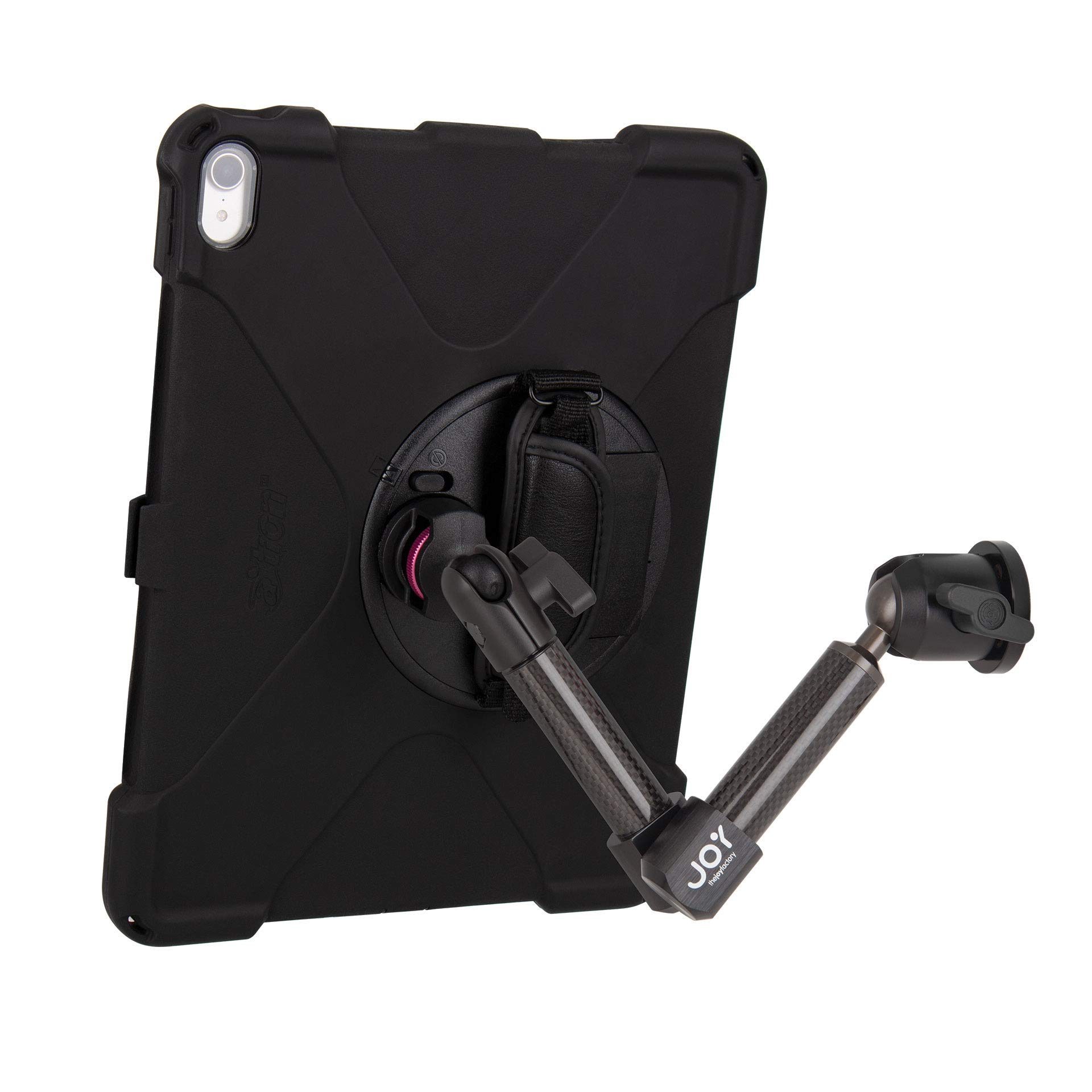 """The Joy Factory MagConnect Carbon Fiber Wall/Counter Mount with aXtion Bold MP Water-Resistant Rugged Shockproof Case for iPad Pro 12.9"""" [3rd Gen], Built-in Screen Protector, Hand Strap (MWA4104MP)"""