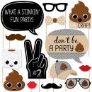 Party 'Til You're Pooped - Poop Emoji Party Photo Booth Props Kit - 20 Count