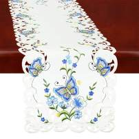 Simhomsen Spring Butterfly and Floral Table Runners, Dresser Scarf (Blue, 14 × 108 Inch)