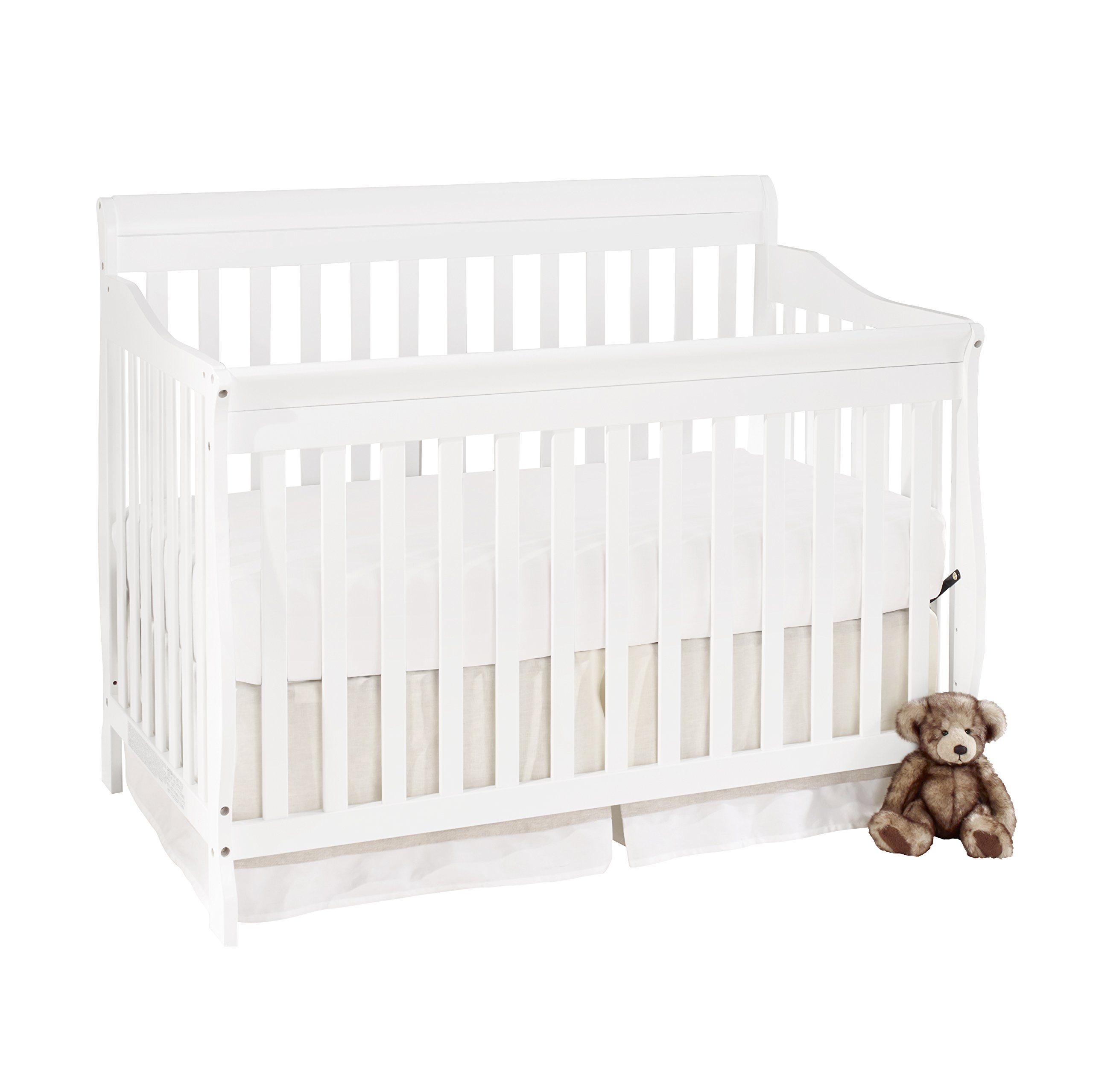 Big Oshi Stephanie 4-In-1 Convertible Crib – Modern, Unisex Wood Design for Boys or Girls – Adjustable Height, Low to High - Convertible to Crib and Day, Toddler or Twin Bed - With Hardware, White