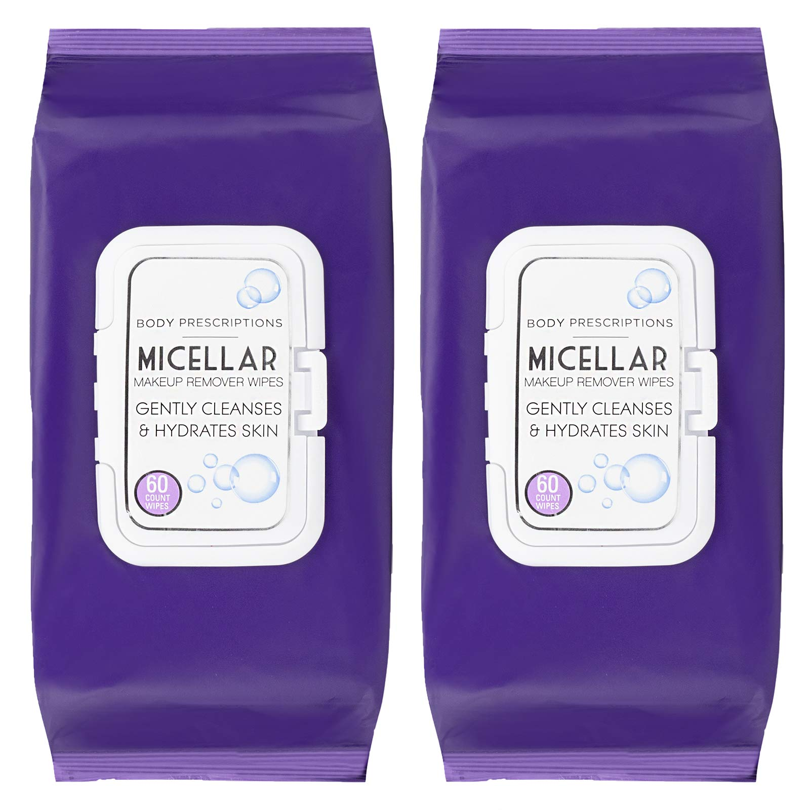 Body Prescriptions - 2 Pack (60 Count Each) Skin Cleansing Micellar Makeup Remover Wipes