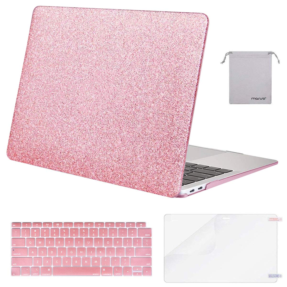 MOSISO MacBook Air 13 inch Case 2020 2019 2018 Release A2179 A1932 with Retina Display, Plastic Hard Shell&Keyboard Cover&Screen Protector&Storage Bag Compatible with MacBook Air 13, Shine Rose Golden