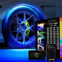 OPT7 Aura Wheel Well RGB LED Kit w/Wireless Remote, Multicolor Tire Rim Lights for Cars   3-Into-1 16+ Smart-Color Waterproof Strips w/SoundSync (Double Row)