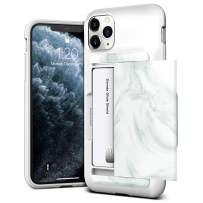 VRS Design Damda Glide Shield Compatible for iPhone 11 Pro Max Case, with Premium Semi Auto Wallet for iPhone 11 Pro Max 6.5 inch (2019) White Marble