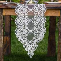 ARTABLE Rectangle Table Runner Dresser Scarf Lace Macrame Embroidered Table Runners with Exquisite Vintage Shabby Chic for Holiday Wedding Long Dinner Tables (White, 12''X120''(30X310cm))