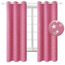 BGment Kids Blackout Curtains for Bedroom - Grommet Thermal Insulated Silver Star Print Room Darkening Curtains for Living Room, Set of 2 Panels (38 x 45 Inch, Pink)