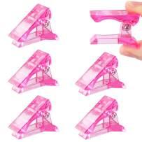 MIKIMIQI 6 Pcs Poly Gel Quick Building Nail Tips Clip Plastic Transparent Finger Extension UV LED Builder Finger Extension Clips Nail Tips Clips for Quick Building DIY Manicure Nail Art Tool, Pink