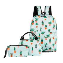 ABage School Bag 3 backpack Set Cute Lunch Bag Pattern Bookbag with Pencil Case for Girls and Boys