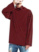 Men's Striped Hipster Hip Hop Basic Turtleneck Long Sleeve T-Shirt Top