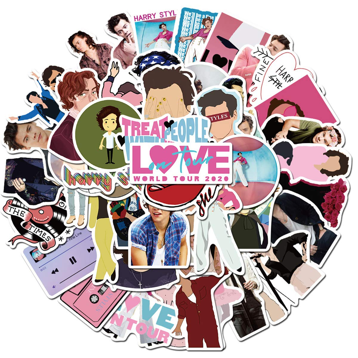 Harry Edward Styles Stickers 50pcs Popular English Singer Harry Edward Styles Vinyl Decals for Laptop Water Bottle Luggage Snowboard Bicycle Skateboard for Kids Teens Adults Fans(Harry Edward Styles)