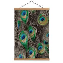 Hanging Poster Peacock Feathers Wall Art with Wooden Frame - Linen Canvas Print Painting Pictures 16 x24 inch for Wall