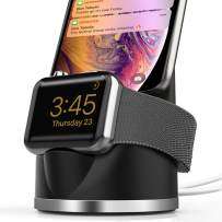 OLEBR Charging Stand Compatible with iWatch 4, Airpods iPhone Xs/XR/X Max/X /8 /8Plus /7 /7Plus /6s /6s /5 Plus Dock, 2 in 1 Charging Dock for iWatch Series 4/3/2/1/-Black
