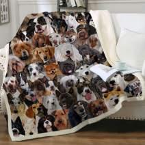 "Sleepwish Breeds of Dogs Fleece Throw Blanket Husky Shiba Inu Pomeranian Home Decorative Warm Plush Cozy Soft Blankets for Chair Bed Couch Sofa Throw(50""x60"")"