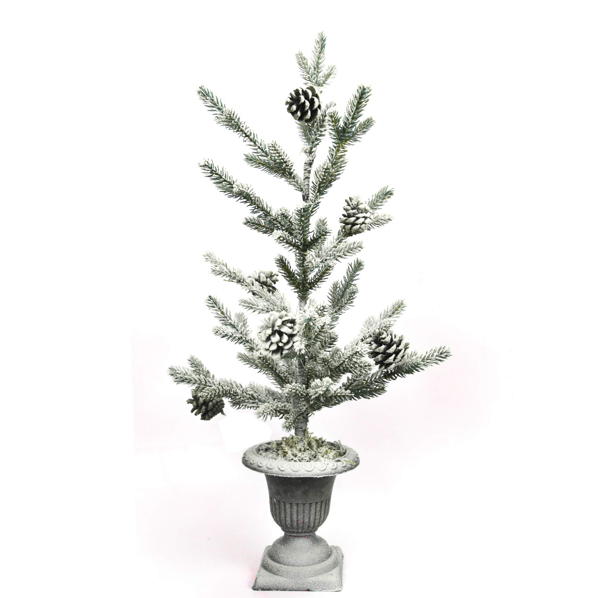 """X-nego 26"""" Frosted Alpine Balsam fir pre-lit Christmas Pine Tree Snowy Cones Battery Operated Warm White LED Lights Windowsills, Mantle Display Table Tops"""