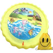 Satkago Funny Inflatable Sprinkler Sprinkle Play Mat Pad Outdoor Water Toy with Storage Bag for Children Kids Toddlers 170cm Diameter Yellow