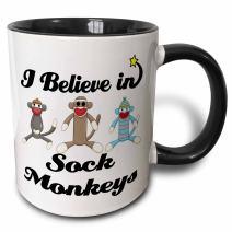 3dRose 105557_4 I Believe In Sock Monkeys Mug, 11 oz, Black/White