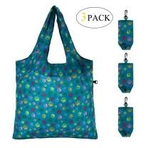 HOLYLUCK Reusable Grocery Bags,Heavy Duty Foldable Shopping Tote Bag - Green Dog Paw