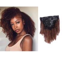 Anrosa Kinkys Curly Clip in Hair Extensions Human Hair 3C 4A Afro Kinky Curly Clip ins Natural Hair Real Remy Thick Human Hair Extensions for Black Women (18 inch, Ombre #1B/33)