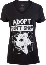 Adopt, Don't Shop Screaming Opposum | Funny Sarcastic Saying Phrase Women V-Neck T-Shirt