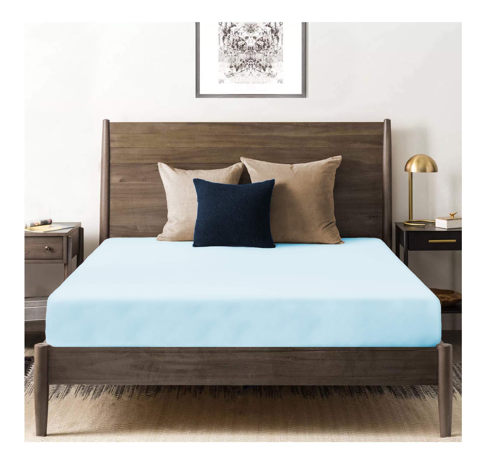 "Tissaj Organic Cotton Fitted Sheet - 500 TC Thread Count King Size Ice Blue - Bedding - 100% GOTS Certified Extra Long Staple, Soft Sateen Weave - Fits 15"" Deep Pocket Mattress"