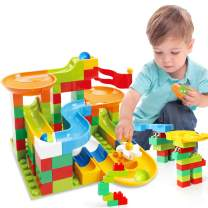 TOY Life 76 PCS Marble Run Set Building Blocks-Marble Race Tracks for Kids Includes Classic Big Blocks, Marble and Many Accessories-Perfect STEM Toy Marble Run for Toddlers, Kids Age 3,4,5,6,7,8+