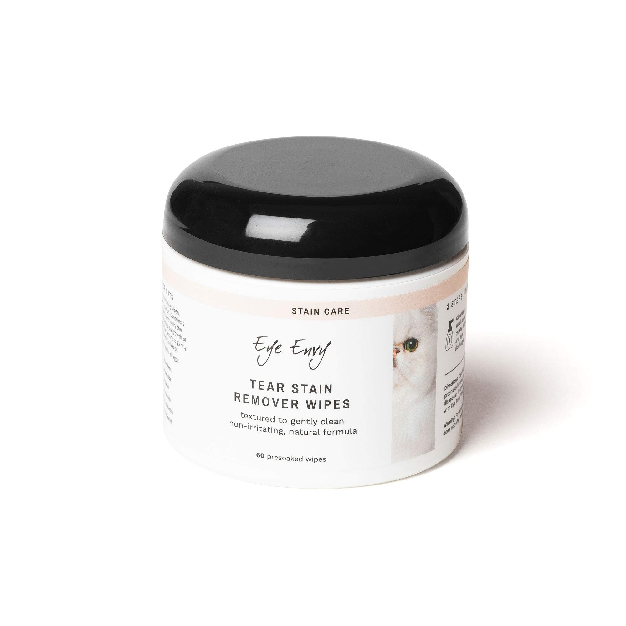 Eye Envy Tear Stain Wipes for Cats | Textured to Gently Clean, Treats The Cause of Staining | 100% Natural Formula | Recommended by Persian & Exotic Breeders, Vets, Groomers | 60 Ct