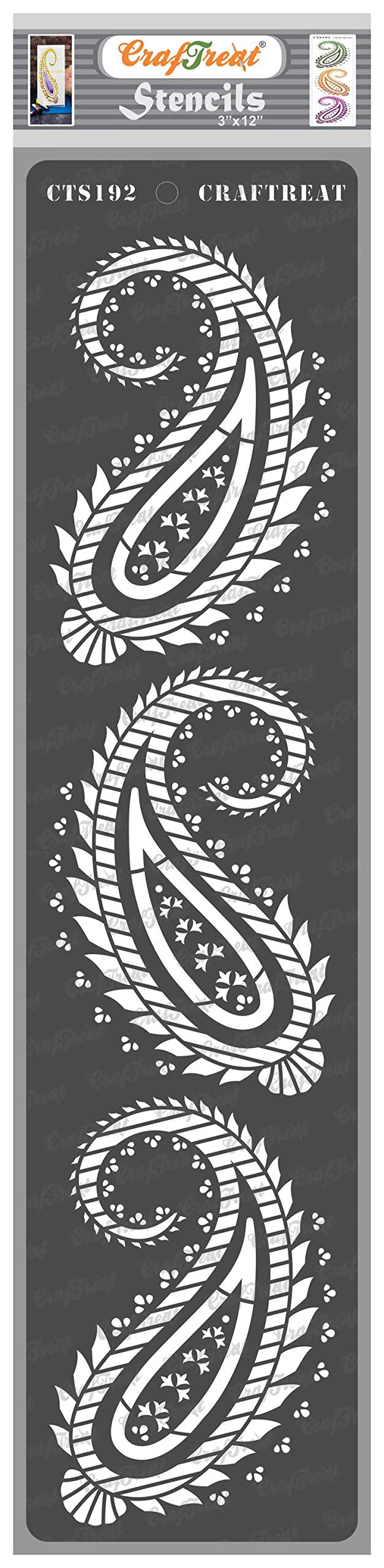 CrafTreat Paisley Stencils for painting on Wood, Canvas, Paper, Fabric, Floor, Wall and Tile - Paisley Border - 3x12 Inches - Reusable DIY Art and Craft Stencils Borders - Paisley Template Stencil