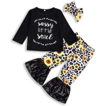 Toddler Baby Girl Pants Sets Blouse Long Sleeve Top + Leopard Floral Ruffle Pants + Headband Winter Outfits Spring Clothes
